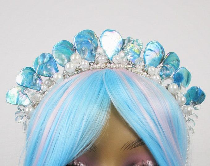 Blue Mermaid Tiara, Mother of Pearl Crown, Bridal Tiara, Wedding Crown, Festival Headpiece, Bridal Crown, Mermaid Headband, Mermaid Crown