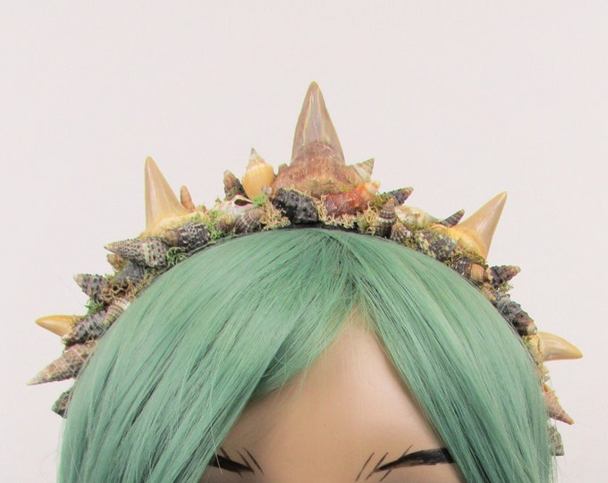 Fossilized Shark Tooth Mermaid Crown, Sea Witch Crown, Shell Crown, Mermaid Headband, Shell Headband, Unisex Crown, Unisex Headband