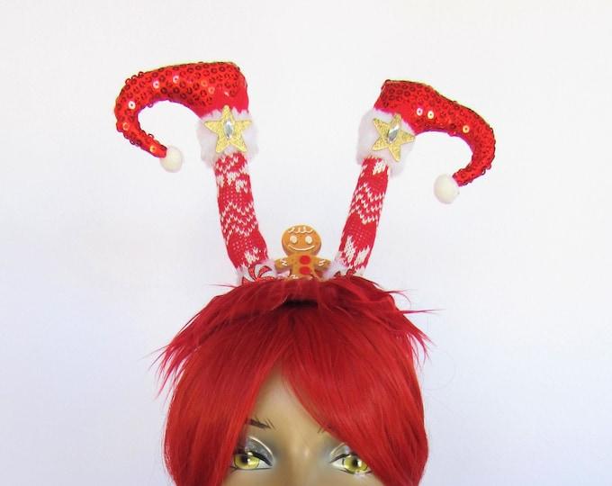 Elf Christmas Headband, Elf Headband, Holiday Headdress, Holiday Headband, Gingerbread Man, Ugly Sweater Party, Tacky Christmas Party