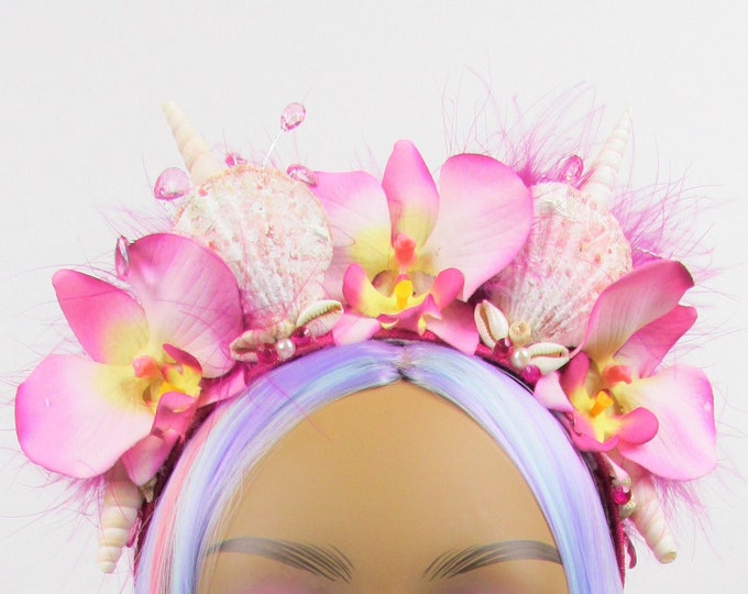 Tropical Mermaid Crown, Flower Crown, Pink Orchid Crown, Mermaid Headband, Tropical Crown, Beach Headband, Tropical Headband, Beach Crown