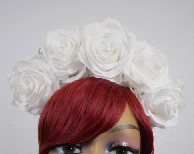 White Rose Crown, Valentines Flower Crown, Rose Headdress, Floral Headpiece, Floral Crown, Frida Headpiece, Flower Halo, Wedding, Bridal