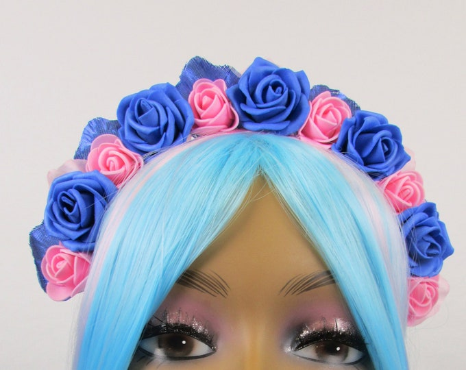 Blue & Pink Rose Crown, Valentines Flower Crown, Rose Headdress, Floral Headpiece, Floral Crown, Flower Girl Headband, All Ages, Kids Crown