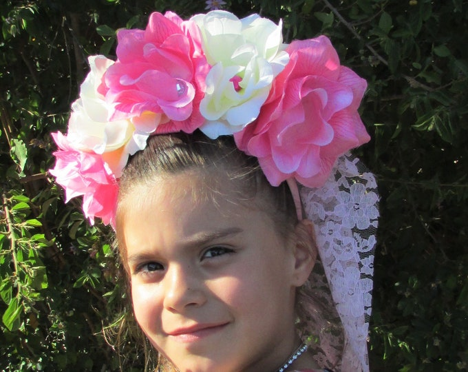 Flower Crown, Rose Crown, Veiled Headband, Flower Head Wreath, Floral Headpiece, Floral Crown, Day of the Dead Flower Crown, Halloween