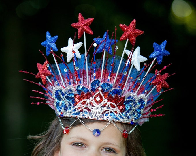 4th of July Crown, Americana Headpiece, Red White and Blue Headband, Patriot Headpiece, USA Headband, Independence Day, Stars Crown