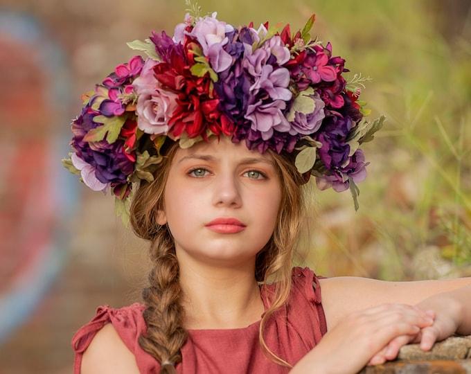 Purple Flower Crown, Burgundy Flower Crown, Flower Head Wreath, Floral Headpiece, Floral Headband, Wedding Crown, Bridal Crown, Bridesmaid