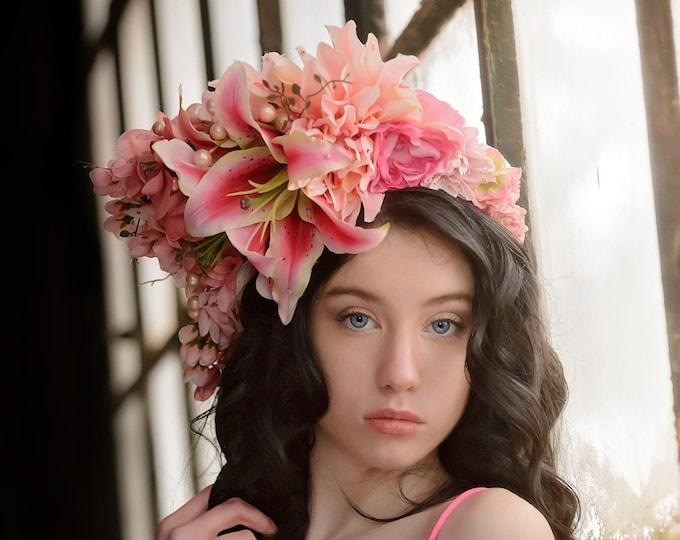 Large Pink Flower Headdress, Lily Flower Crown, Rose Crown, Flower Headband, Floral Crown, Floral Headpiece, Wedding, Bohemian, Goddess