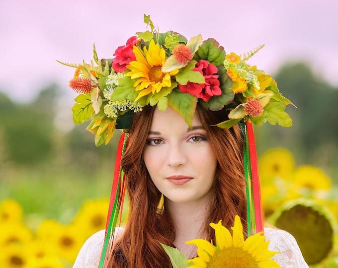 Sunflower Crown, Garden Crown, Flower Head Wreath, Floral Headpiece, Floral Headband, Wedding Crown, Fairy Wreath, Flower Crown