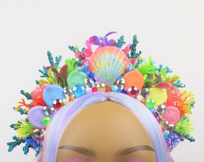 Rainbow Mermaid Headband, Mermaid Crown, Mermaid Costume, Rainbow Crown, Gem Crown, Colorful, Rave, Festival, Pride