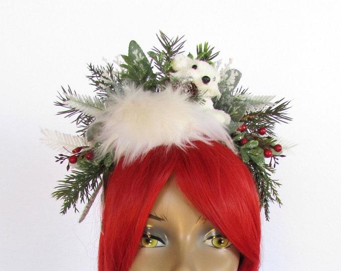 Christmas Fox Headband, Holiday Headband, Christmas Headband Adult, Winter Fox Crown, Winter Solstice Headband, Ugly Sweater Party Hairpiece
