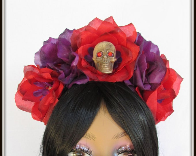 Rose Skull Crown, Day of the Dead Headpiece, Day of the Dead Headband, Día de los Muertos Headdress, Sugar Skull Headpiece, Flower Crown