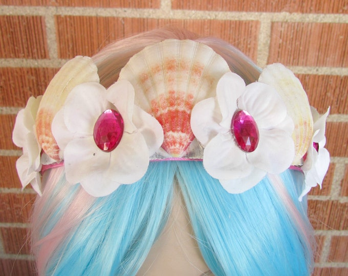 Mermaid Crown, Sea Shell Crown, Mermaid Headband, Flower Crown, Shell Crown, Mermaid Costume, Cosplay, Mermaid Tiara, Seashell Tiara