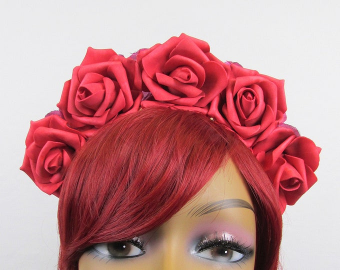 Red Rose Crown, Valentines Flower Crown, Rose Headdress, Floral Headpiece, Floral Crown, Frida Headpiece, Flower Halo, All Ages, Kahlo