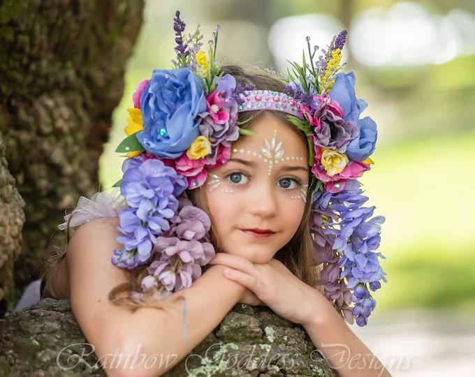 Purple Fairy Headpiece, Flower Headdress, Flower Crown, Flower Headband, Floral Crown, Floral Headpiece, Fantasy Crown, Goddess