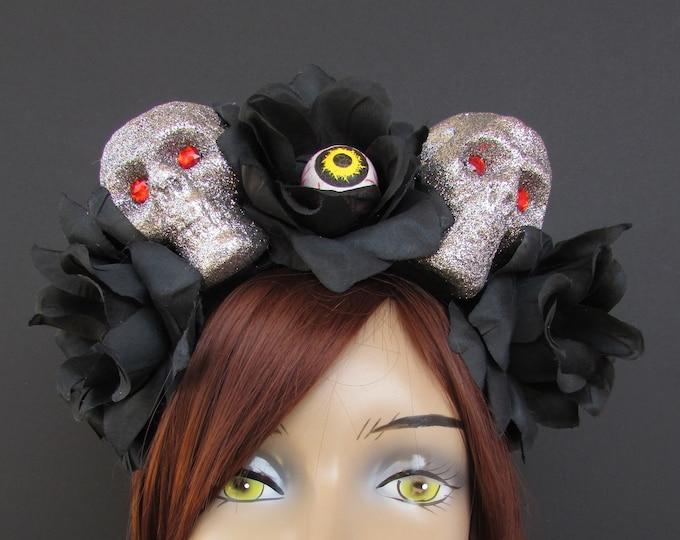 Day of the Dead Flower Headpiece, Día de los Muertos Headband, Flower Crown, Rose Skull Crown, Skull Headband, Skeleton Headdress, Gothic