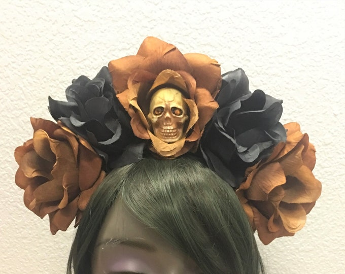 Rose Skull Crowns, Day of the Dead Flower Crown, Día de los Muertos Headdress, Veiled Headdress, Skull Headband, Rose Crown, Brown & Black