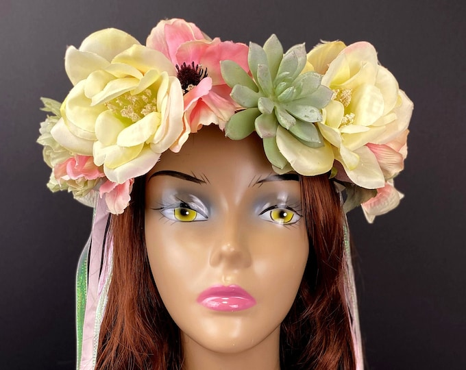 Pink & Ivory Succulent Flower Crown, Flower Head Wreath, Floral Headpiece, Floral Headband, Wedding Crown, Fairy Wreath, Boho, Bridal