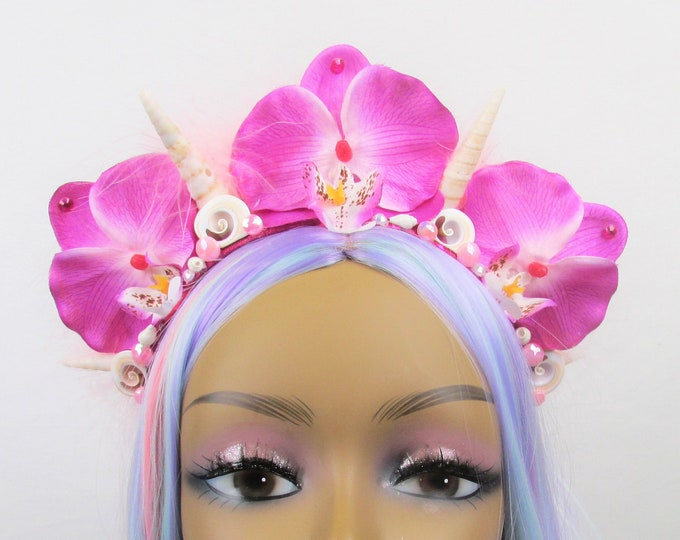 Tropical Mermaid Crown, Tropical Flower Crown, Pink Orchid Flower Crown, Mermaid Headband, Tropical Headpiece, Mermaid Headpiece, Wedding