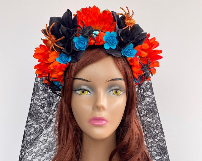 Day of the Dead Headpiece, Halloween Headband, Día de los Muertos Crown, Flower Crown, Flower Head Wreath, Floral Headpiece, Floral Crown