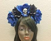 Flower Crown, Rose Skull Crown, Veiled Headband, Flower Head Wreath, Floral Headpiece, Floral Crown, Day of the Dead Flower Crown, Halloween