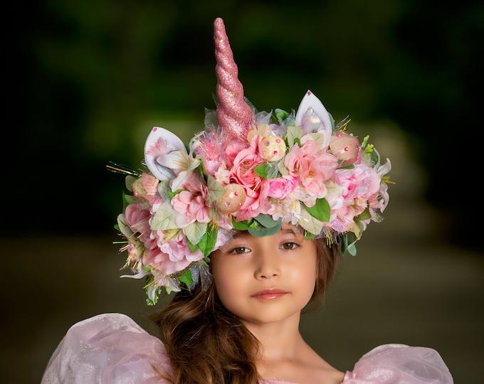 Pink Unicorn Crown, Flower Headband, Mushroom Crown, Forest Headpiece, Fairy Headdress, Unicorn Headpiece, Unicorn Headdress, Fantasy Crown