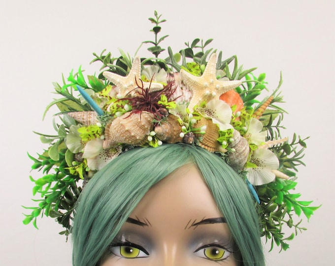 Green Mermaid Crown, Mermaid Headband, Mermaid Headdress, Shell Crown, Mermaid Costume, Seashell Tiara, Sea Garden Crown, Mermaid Wedding