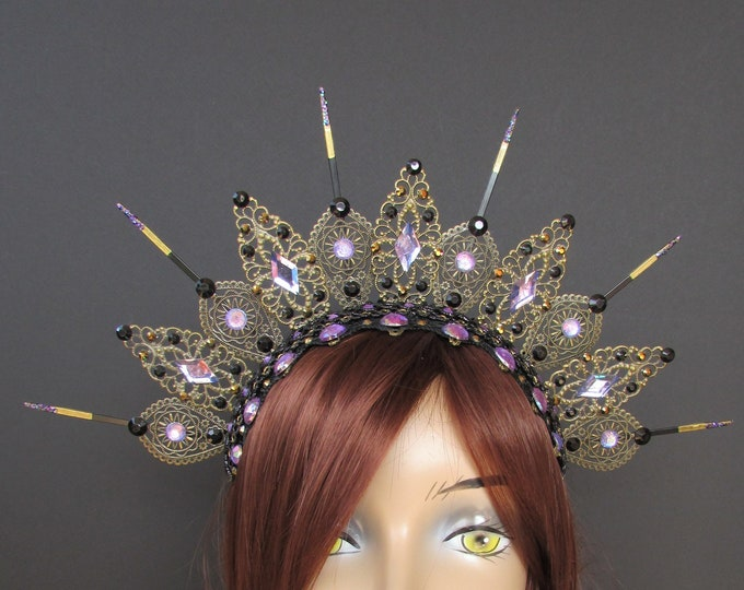 Purple Gothic Crown, Metal Crown, Gothic Tiara, Filigree Crown, Antique Bronze Crown, Zip Tie Crown, Gothic Halo, Halo Crystal Crown