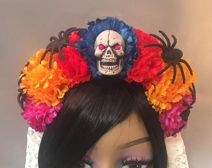 Flower Crown, Skull Crown, Veiled Headband, Flower Head Wreath, Floral Headpiece, Floral Crown, Day of the Dead Flower Crown, Halloween
