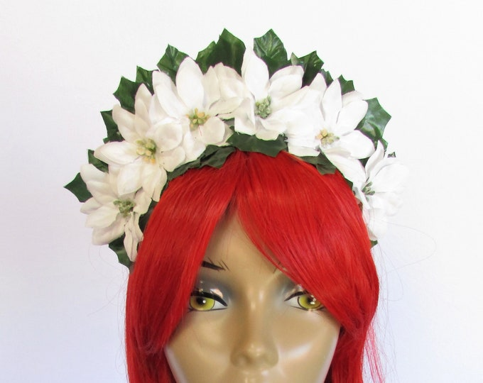 White Poinsettia Crown, Christmas Flower Crown, Holiday Headband, Christmas Headband Adult and Kids, Poinsettia Headband, Ugly Sweater Party