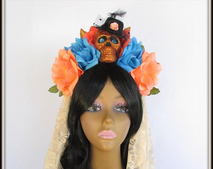 Day of the Dead Flower Headpiece, Día de los Muertos Headband, Flower Crown, Rose Skull Crown, Skull Headband, Peach & Blue Rose Crown