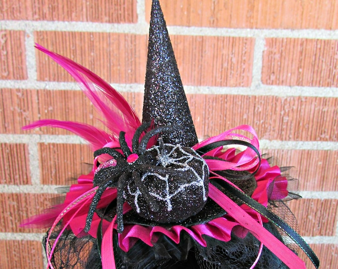 Mini Witch Hat Headbands, Black and Pink, All Ages, Halloween, Costume Accessory, Fall, Photo Prop