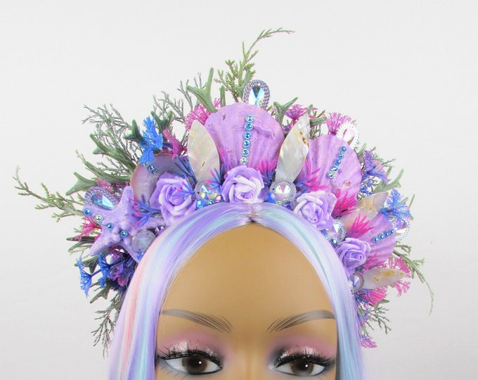 Purple Mermaid Crown, Mermaid Headband, Mermaid Headdress, Shell Crown, Mermaid Costume, Seashell Tiara, Crystal Crown, Beach Wedding