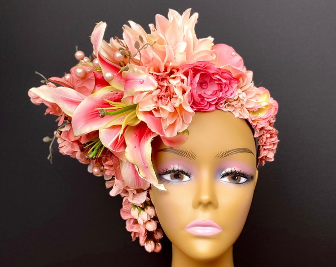 Large Pink Flower Headdress, Lily Flower Crown, Rose Crown, Flower Headband, Floral Crown, Floral Headpiece, Wedding, Bohemian, Goddess