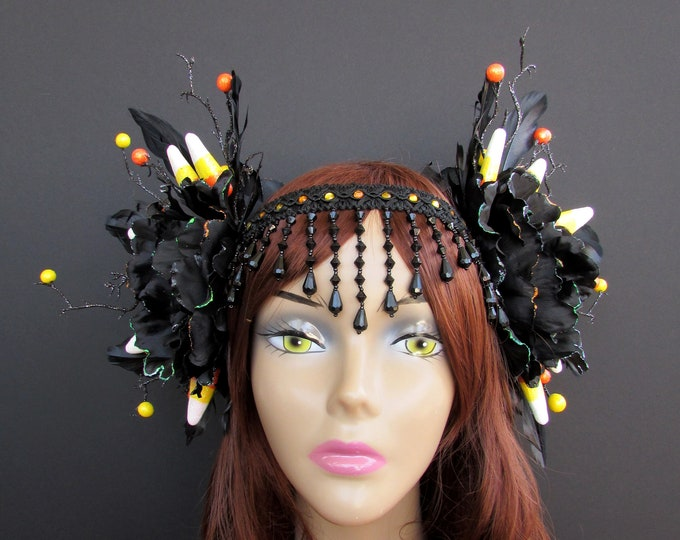 Candy Corn Headdress, Candy Corn Headpiece, Gothic Headdress, Halloween Headpiece, Halloween Headdress, Gothic Headpiece, Fall Headband