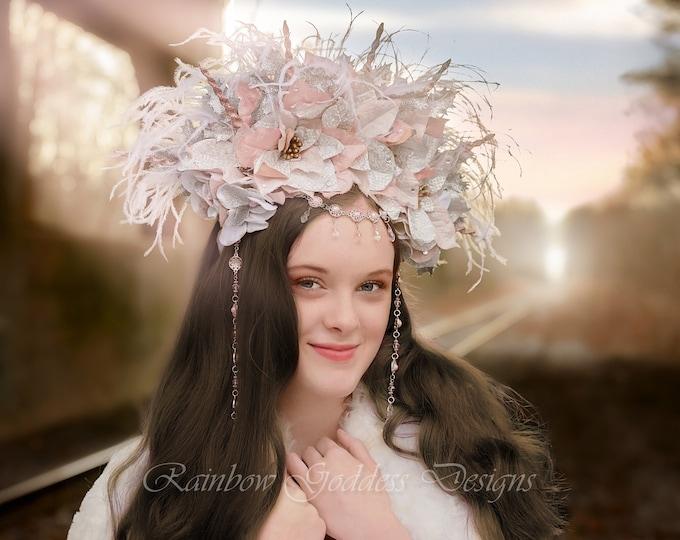 Pink & Silver Flower Crown, Flower Headband, Winter Goddess Headdress, Ice Queen, Fairy Goddess, Floral Headpiece, Headdress, Wedding