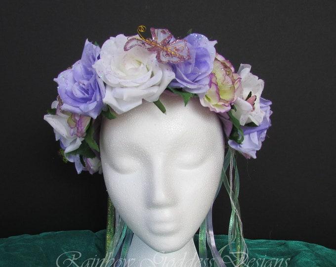 Purple Fairy Crown, Flower Crown, Floral Crown, Purple Headdress, Floral Headdress, Flower Headdress, Rose Crown, Fairy Costume, Wedding