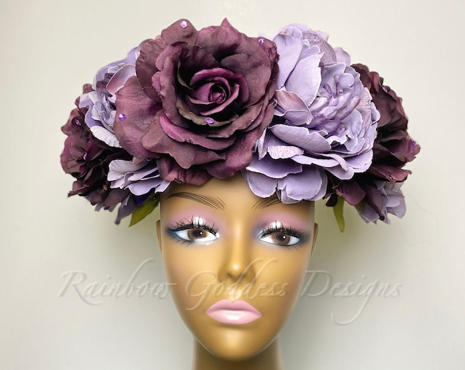 Purple Flower Crown, Large Flower Crown, Large Floral Crown, Purple Headdress, Floral Headdress, Flower Headdress, Rose Crown, Fairy Costume