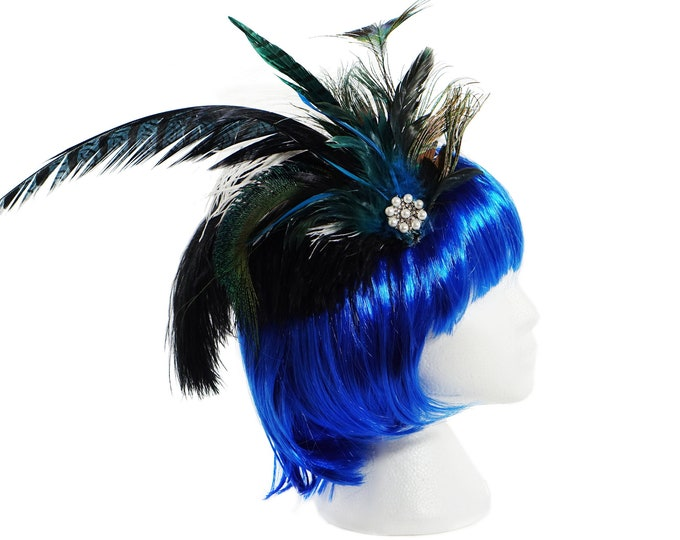 Peacock Feather Hair Clip, Peacock Feather Fascinator, Peacock Flapper Headpiece, Elegant Peacock Hair Accessories, Wedding Hair Piece