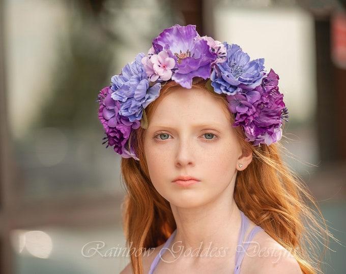 Purple Flower Crown, Floral Crown, Fairy Crown, Floral Headpiece, Flower Girl Headpiece, Festival Crown, Wedding Crown, Bridesmaid Crown
