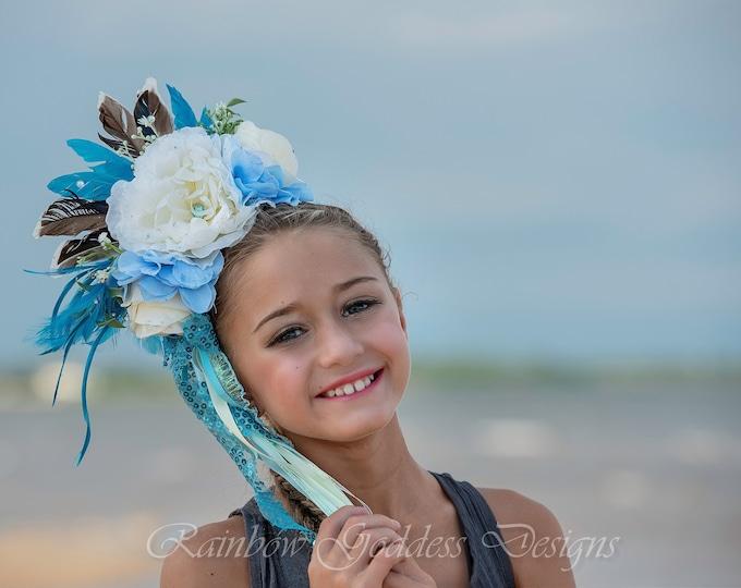 Blue Flower Headband, Flower Crown, Floral Crown, Floral Headpiece, Feather Headdress, Feather Headband, Beach Wedding, Bohemian, Goddess