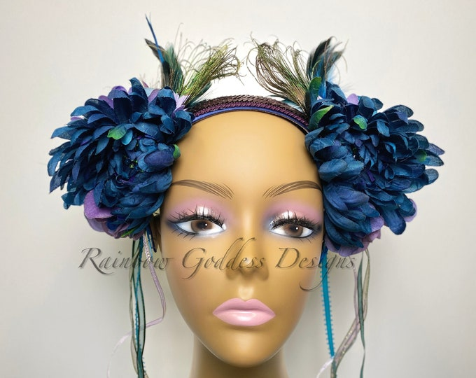 Peacock Flower Headband, Flower Headdress, Feather Headdress, Floral Crown, Flower Headpiece, Halloween, Festival, Wedding, Fairy