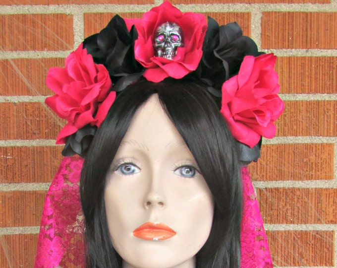 Flower Crown Headband, Pink & Black Rose Skull Crown, Flower Crown, Floral Headpiece, Floral Crown, Day of the Dead Flower Crown, Halloween