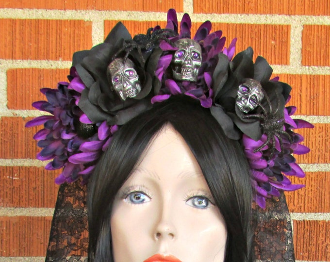 Rose Skull Crowns, Day of the Dead Flower Crown, Día de los Muertos Headdress, Veiled Headdress, Skull Headband, Purple & Black Rose Crown
