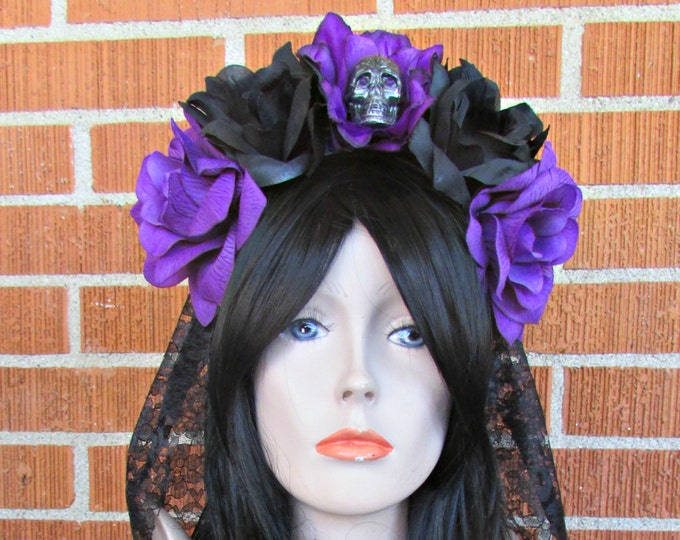 Rose Skull Crowns, Day of the Dead Flower Crown, Día de los Muertos Headdress, Veiled Headdress, Skull Headband, Rose Crown