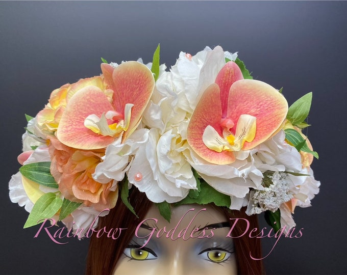 Orchid Flower Crown, Floral Crown, Tropical Crown, Floral Headpiece, Festival Crown, Hawaiian Flower Crown, Wedding Crown, Hawaiian Wedding