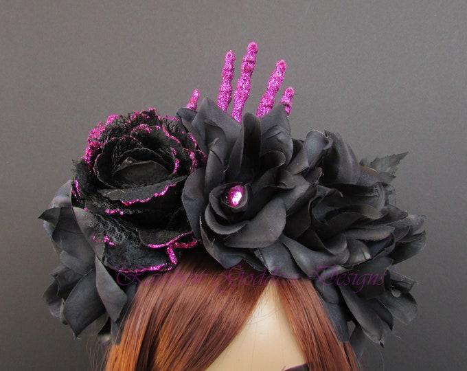 Day of the Dead Flower Headpiece, Día de los Muertos Headband, Flower Crown, Rose Crown, Halloween Headdress, Gothic Crown, Black Rose Crown