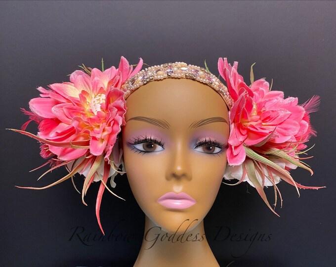 Pink Mermaid Queen Headdress, Mermaid Goddess Headpiece, Feather Headdress, Succulent Headband, Flower Headband, Flower Headdress