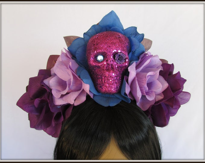Day of the Dead Flower Headpiece, Día de los Muertos Headband, Flower Crown, Rose Skull Crown, Skull Headband, Purple & Blue Rose Crown