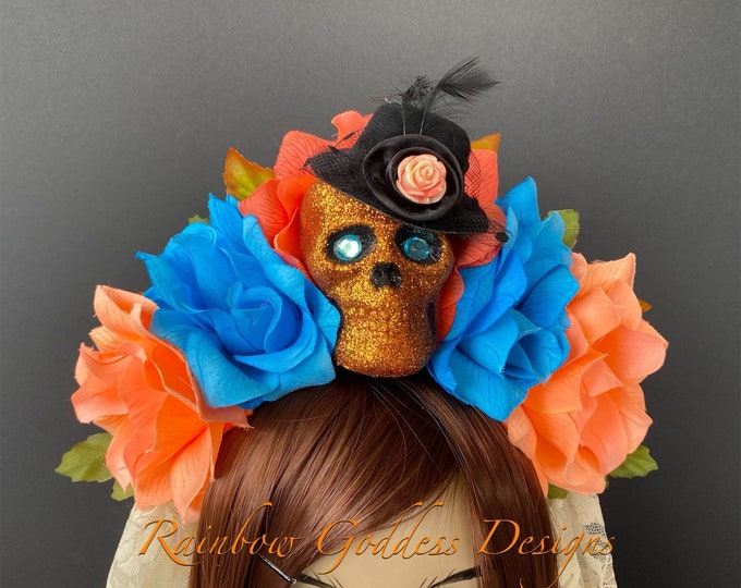 Day of the Dead Flower Headpiece, Día de los Muertos Headband, Flower Crown, Rose Skull Crown, Catrina, Kahlo Frida, Peach & Blue Rose Crown