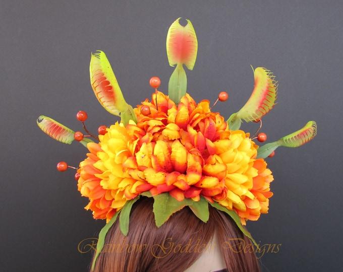 Venus Fly Trap Headdress, Venus Fly Trap Hat, Flower Crown, Floral Headpiece, Little Shop of Horrors, Halloween, Fall Crown, Fall Headband