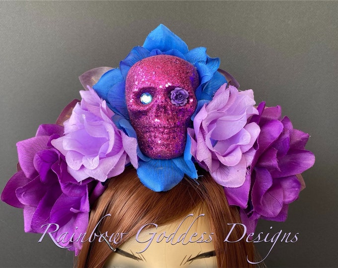 Day of the Dead Flower Headpiece, Día de los Muertos Headband, Flower Crown, Rose Skull Crown, Skull Headband, Purple & Blue Rose Crown